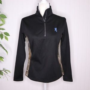 Browning Fleece Zip Up Pullover Sweater Size Small